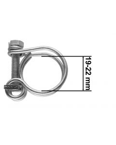 DOUBLE WIRE HOSE CLAMP GALVANISED 19MM-22MM