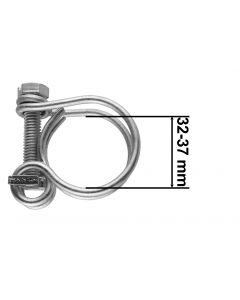 DOUBLE WIRE HOSE CLAMP GALVANISED 32MM-36MM
