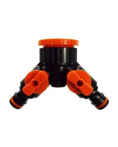 Two way tap splitter orange/black with valves