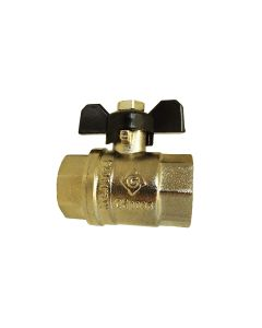 "BRASS NICKEL PLATED BUTTERFLY VALVE 1/2""BSPF"